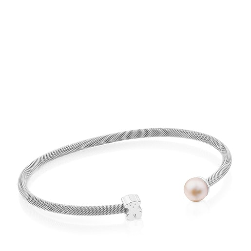 Silver TOUS Mesh Bracelet with 0,7cm. pearl
