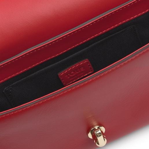 Κόκκινη τσάντα Χιαστί Bridgy Baguette από δέρμα