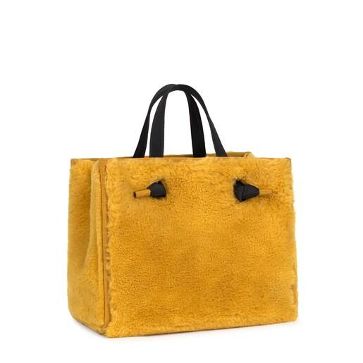 Medium mustard Amaya Fur Shopping bag