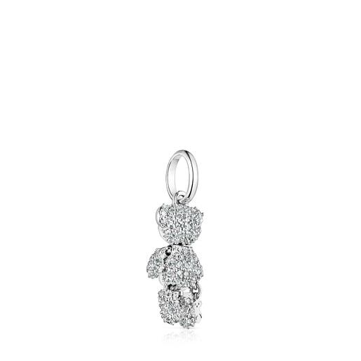 White Gold Teddy Bear Gems Pendant with Diamonds