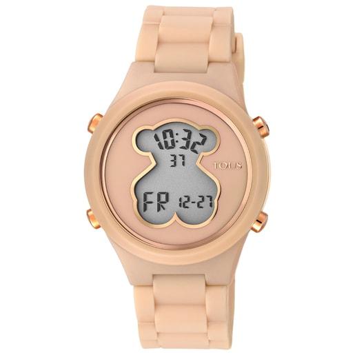 Uhr D-Bear aus Polykarbonat mit hautfarbenem Silikon-Armband