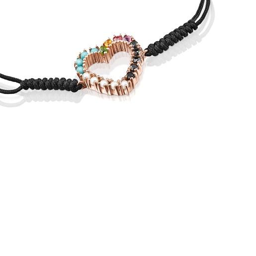 San Valentín heart Bracelet in Rose Silver Vermeil with Gemstones and black Cord