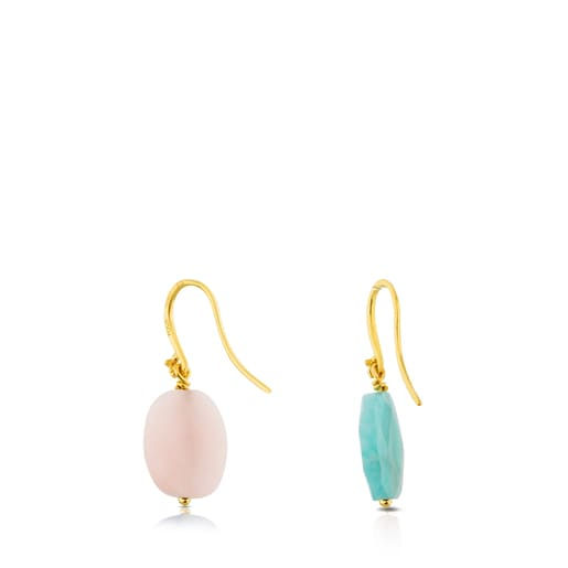 Vermeil Silver Motif Earrings with Opal and Amazonite