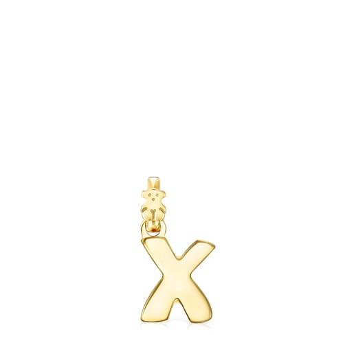 Alphabet-Anhänger X aus Vermeil-Gold