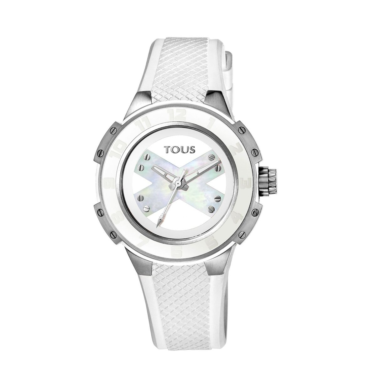 Steel Xtous Lady Watch with white Silicone strap