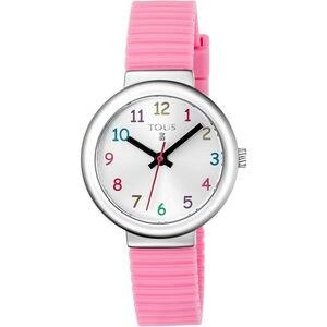 Reloj Rainbow de acero con correa de silicona rosa