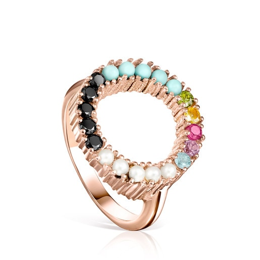 Straight disc Ring in Rose Silver Vermeil with Gemstones