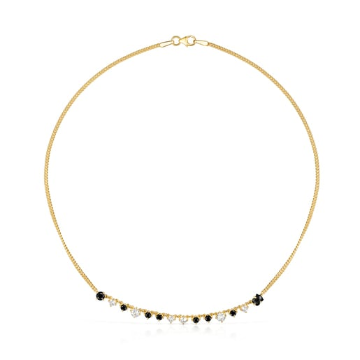 Silver Vermeil Glaring Necklace with Onyx and Zirconia