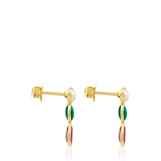 Aretes Gem Power de Oro con Perla, Ágata verde y Rubí