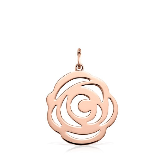 Pendentif Rosa de Abril grand en Or Vermeil rose