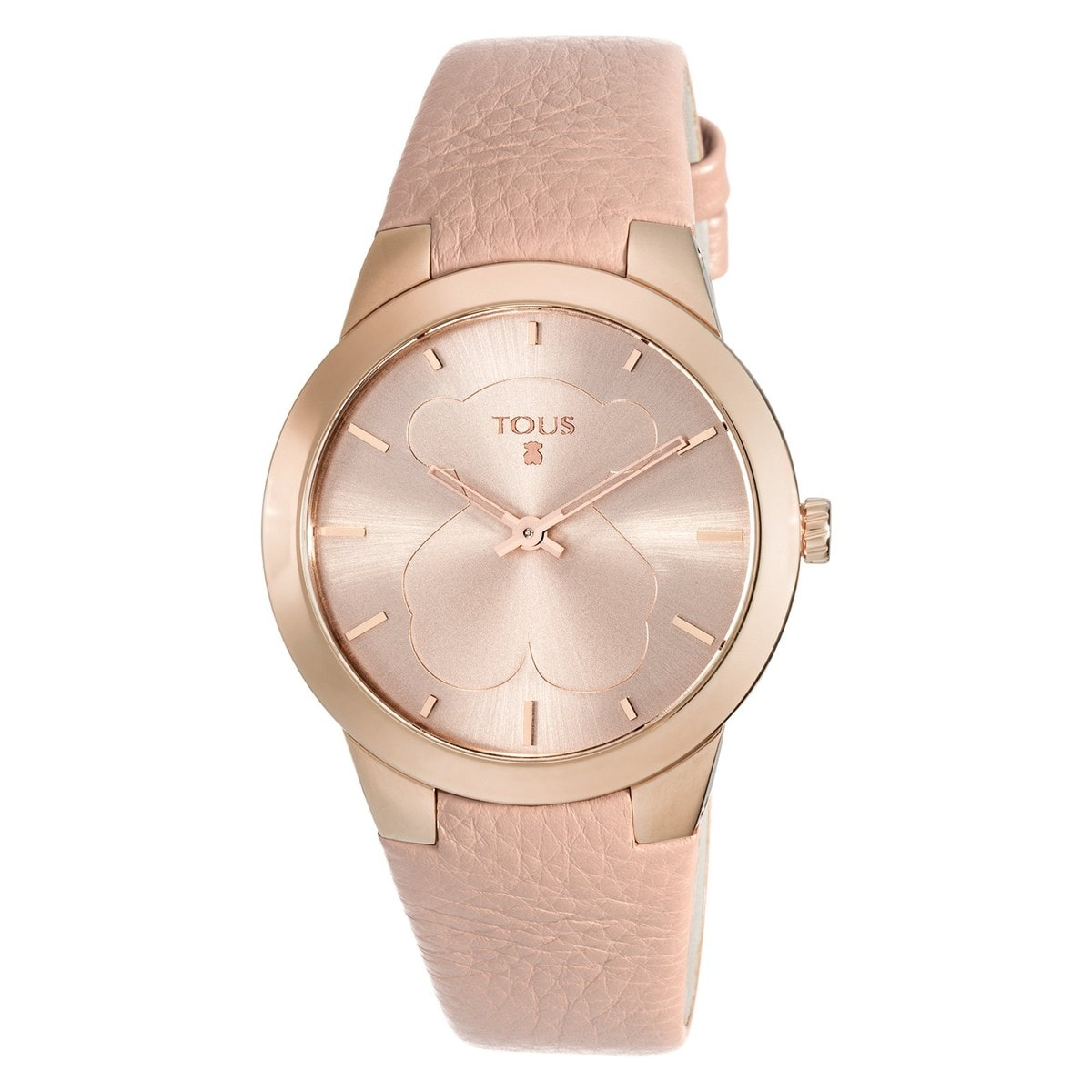96554b407eb7 Pink IP Steel B-Face Watch with nude Leather strap - Tous Site US