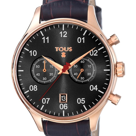Pink IP Steel 1920 Watch with black Leather strap