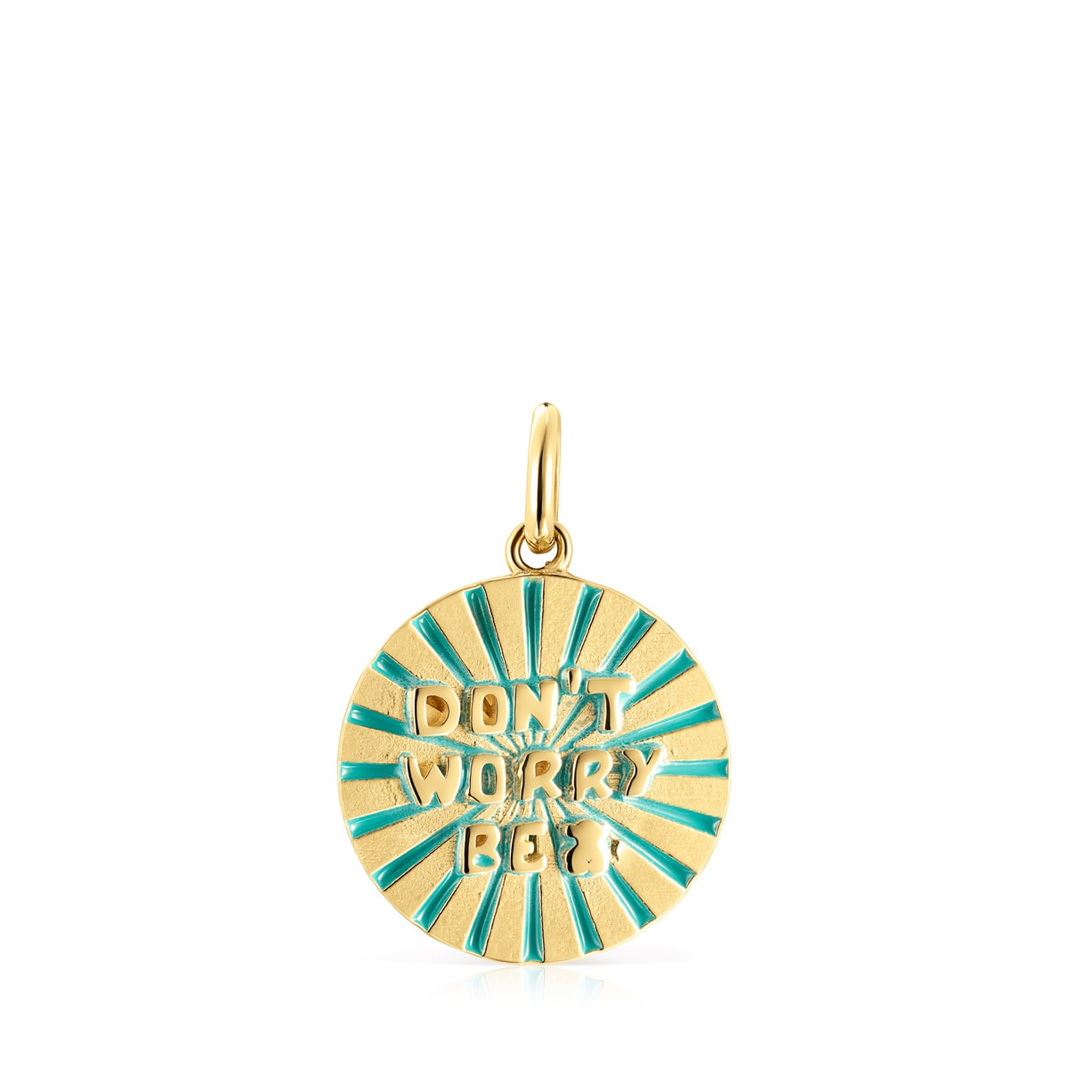 Gold Vermeil with Enamel Medallions Don't Worry Pendant