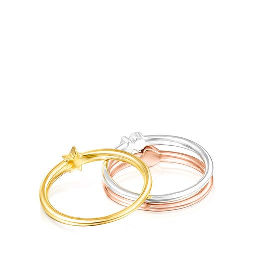 Pack de Anillos motivos de plata, plata vermeil y plata vermeil rosa Ring Mix