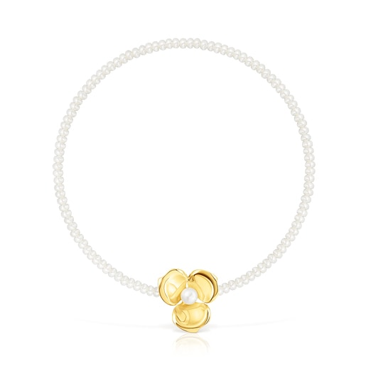 Pearl Fragile Nature Necklace with Silver Vermeil