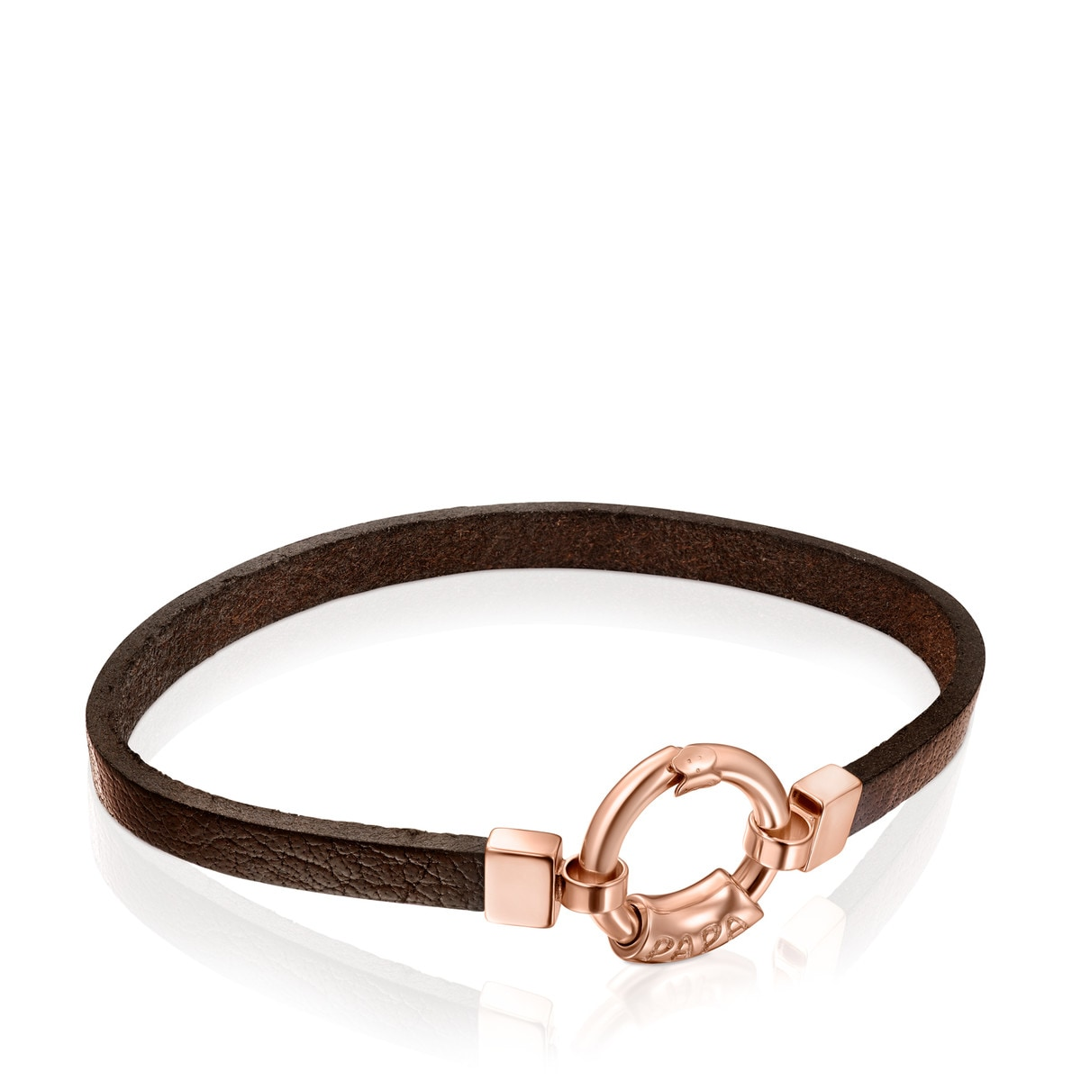 TOUS Papa Bracelet in Rose Gold Vermeil and brown Leather