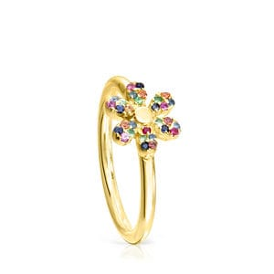 Anillo Real Mix Bloom de Plata Vermeil con Gemas