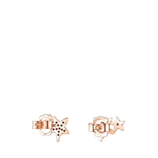 Rose Silver Vermeil Teddy Bear Stars Earrings with Spinel and Ruby