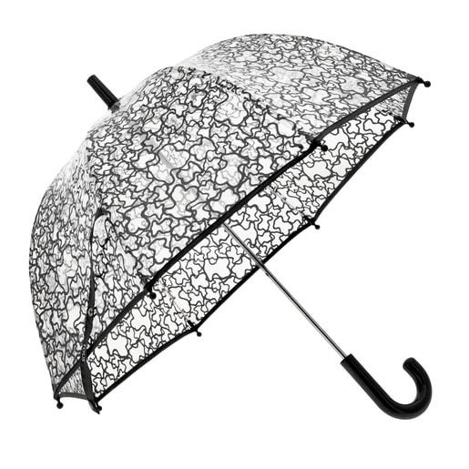 Paraguas transparente Kaos Negro