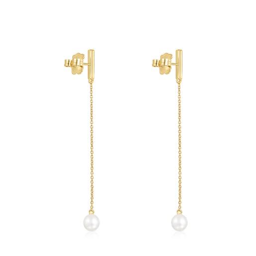 Boucles d'oreilles Nocturne longues barre en Or Vermeil, Diamants et Perle