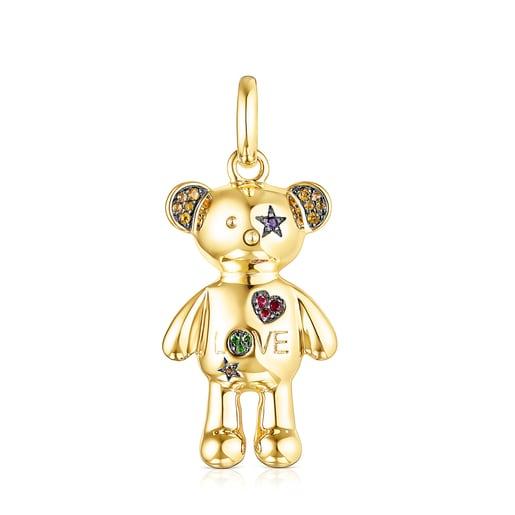 Silver Vermeil Teddy Bear Stars Pendant with Gemstones