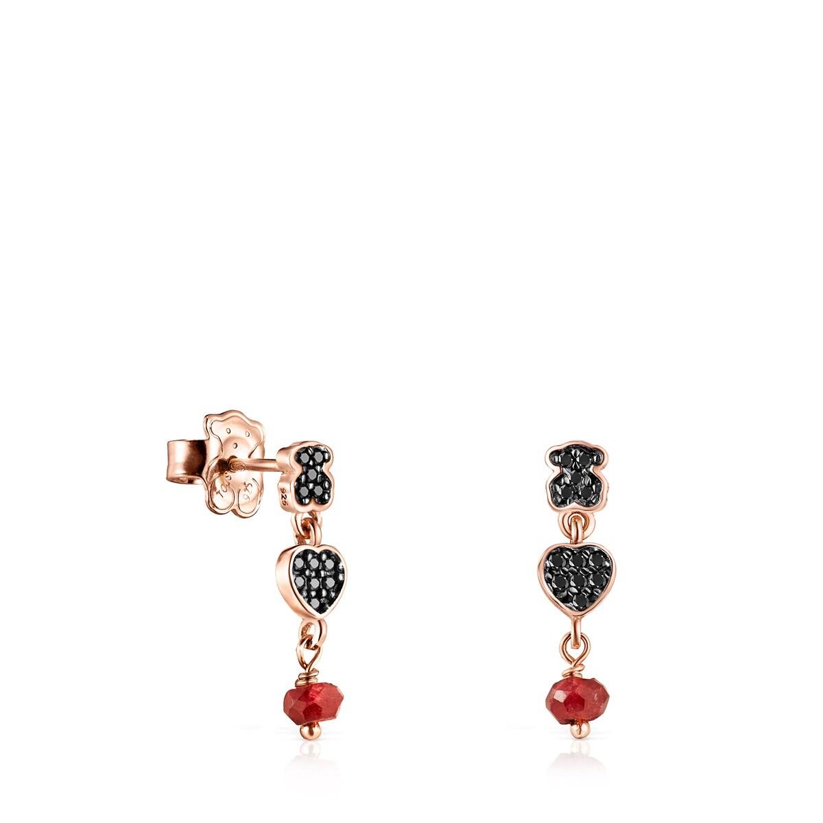 80f84e89e608 Pendientes cortos Motif de Plata Vermeil rosa con Espinelas y Rubí ...