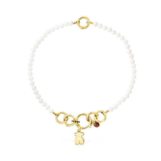 Pearl and Vermeil Silver Hold Necklace with Gemstones