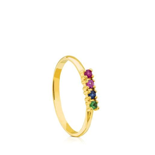 Anillo Lio de Oro con Gemas multicolor