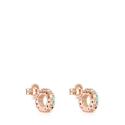 Boucles d'oreilles Straight cercle petites en Or Vermeil rose avec Pierres précieuses