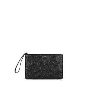 Black colored Kaos Capitone Clutch bag