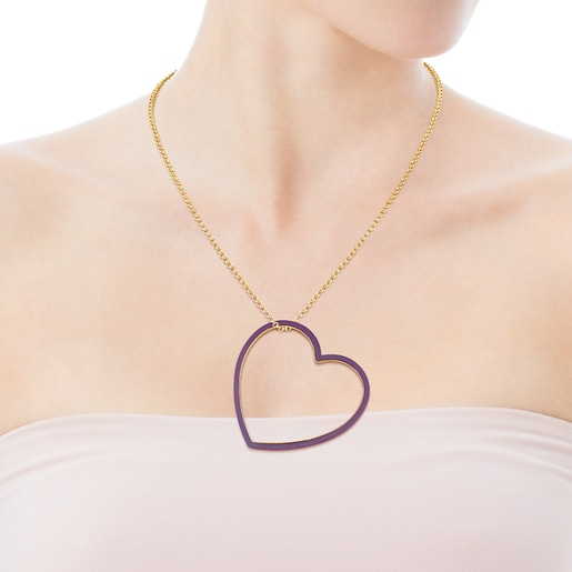 Silueta Heart Pendant in Silver Vermeil and Titanium