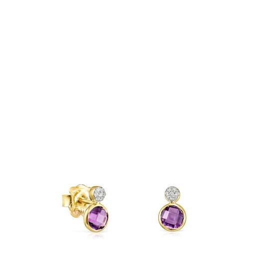Pendientes de oro con amatista y diamantes Color Kings
