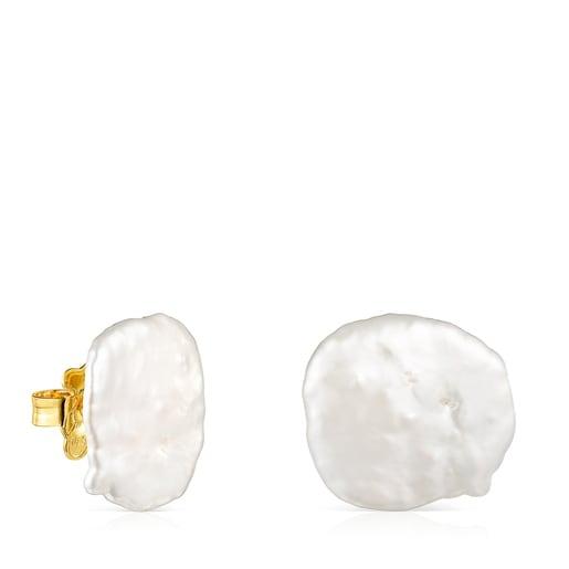 Μικρά Σκουλαρίκια πέταλο Nenufar από Ασήμι Vermeil με Μαργαριτάρι