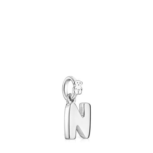 Pingente Alphabet letra N em Prata