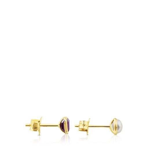 Ohrringe Gem Power aus Gold mit Perle und Amethyst
