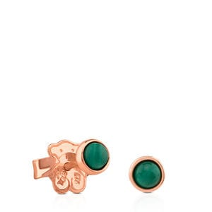 Rose Vermeil Silver Super Power Earrings with Malachite