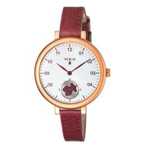 Reloj Spin de acero IP rosado con correa de piel burdeos