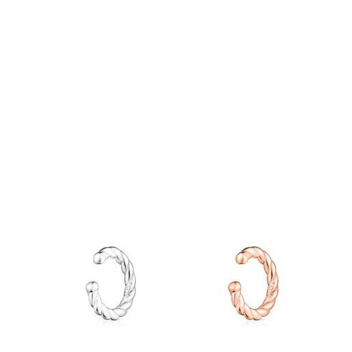 Ohrstecker-Set Braid aus Silber und Rósevermeil-Silber