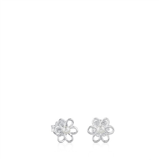 Silver and 0,35cm. pearls TOUS Maggie Earrings with Flower motif