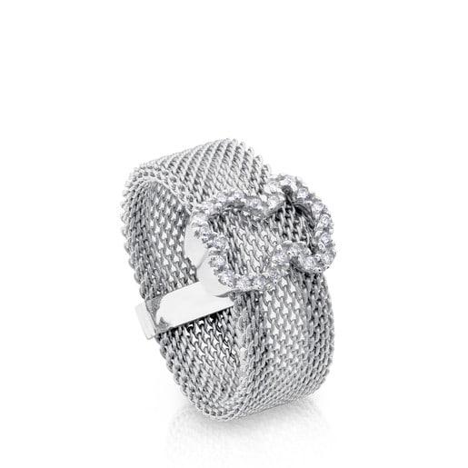 Anillo Icon Mesh de Acero y Oro blanco con Diamantes motivo silueta Oso mediano