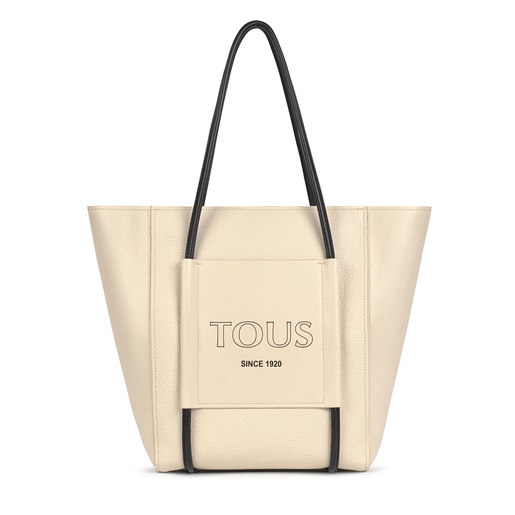 Shopping grande Tous Empire beige de piel