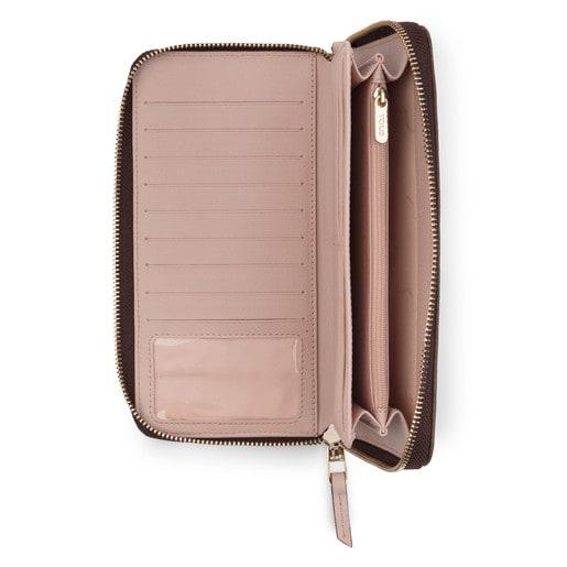 Billetero grande Elice New en color marrón-rosa