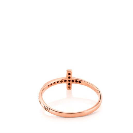 Rose Vermeil Silver TOUS Motif Ring with Spinels Cross motif