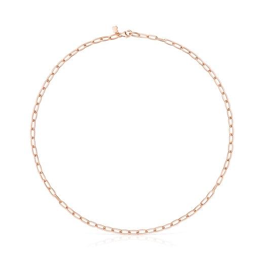 Gargantilla TOUS Chain oval de plata vermeil rosa
