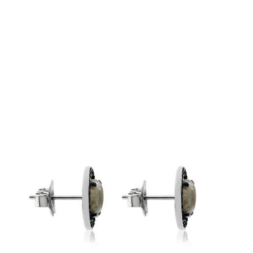 Camille Earrings in Silver with Labradorite and Diamonds.