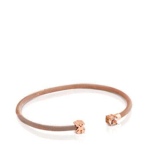 Steel and Rose Vermeil Silver Eklat Bracelet with Topaz