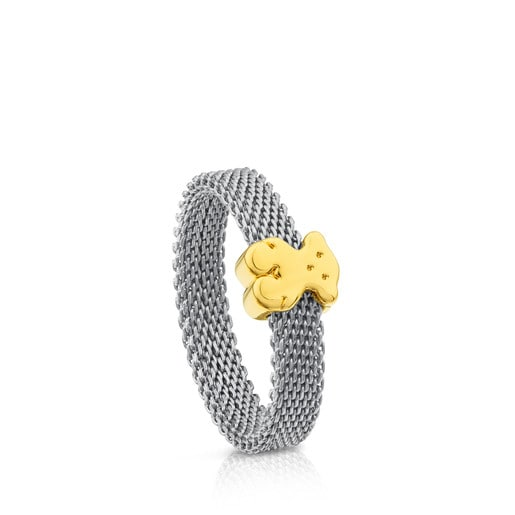 Gold and Steel Icon Mesh Ring