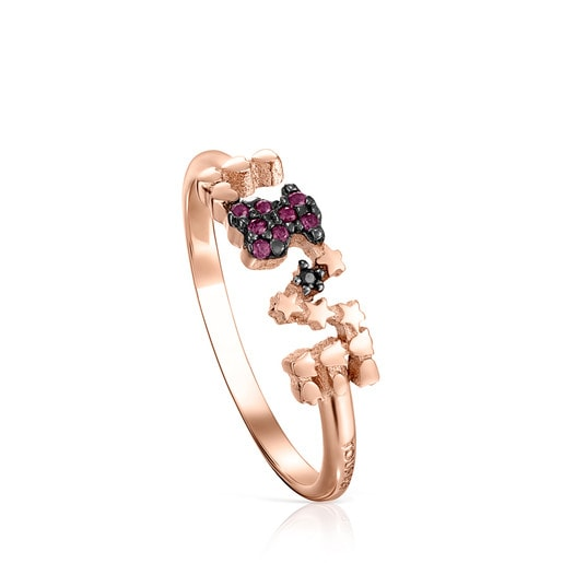 San Valentín love Ring in Rose Silver Vermeil with Ruby and Spinel