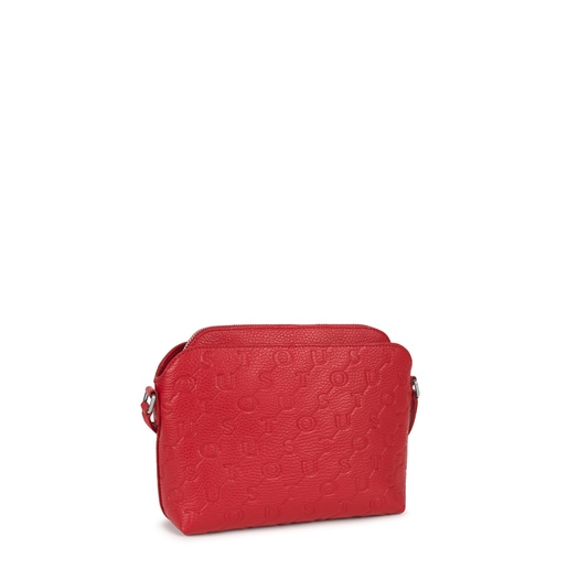 Red Leather T Script Crossbody bag