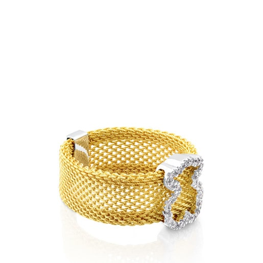 Gold Icon Mesh Ring in Gold with Diamonds